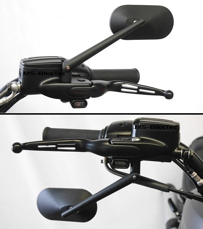 spiegel custom schwarz und chrom f r harley v rod sportster dyna softail 2. Black Bedroom Furniture Sets. Home Design Ideas