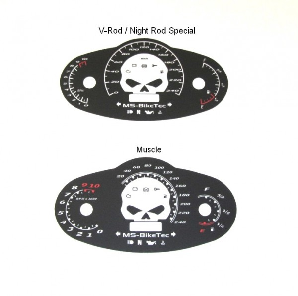 "Tachoscheibe ""black-skull"" V-Rod ®, Night Rod Special ®, Muscle ®"