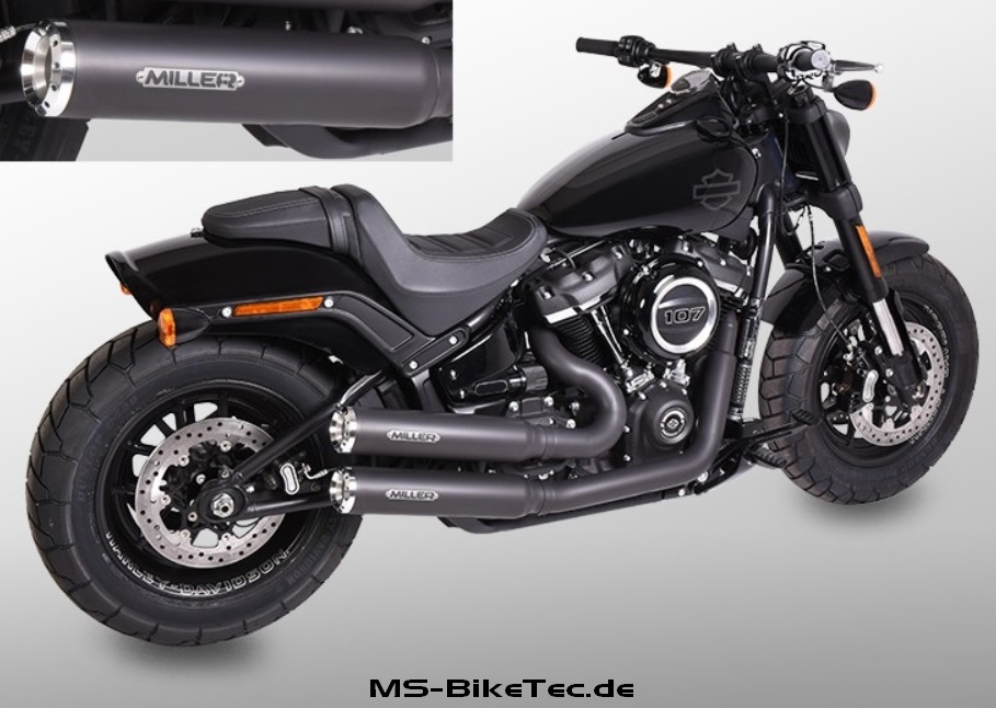 miller komplettanlage bronco mit abe f r softail modelle. Black Bedroom Furniture Sets. Home Design Ideas
