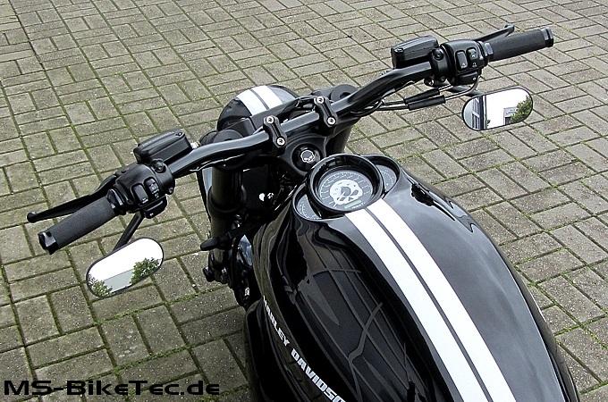 Spiegel custom schwarz und chrom f r harley v rod for Spiegel unten motorrad