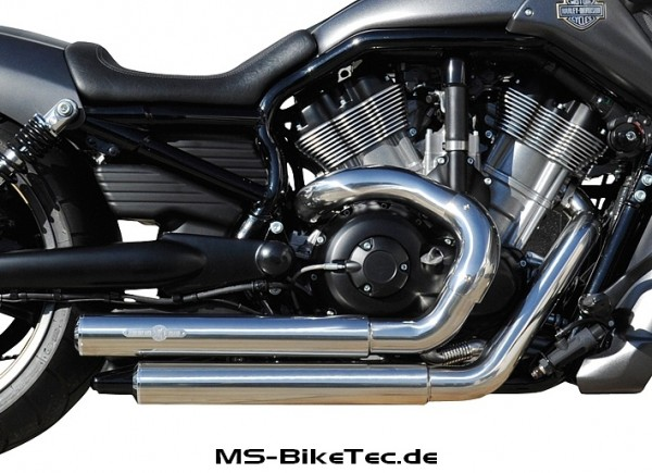 Top Chopp Staggered Smooth 2in2 Komplettanlage mit ABE für V-Rod ® / Night Rod Special ® / Muscle ® ab Bj.2007