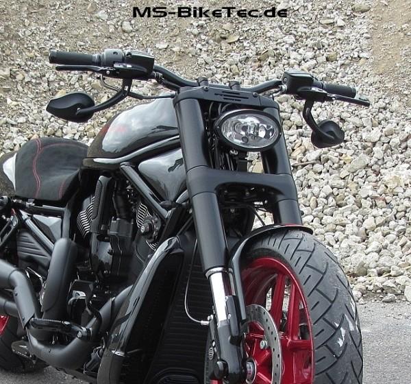 """Spiegel """"Drop"""" schwarz und chrom für Harley ® V Rod ®, Sportster ®, Dyna ®, Softail ®... (2 Stück)"""