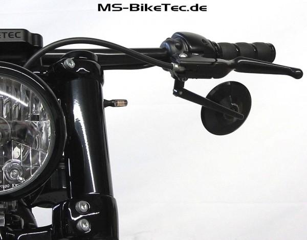 """Spiegel """"Tondo"""" schwarz und chrom für Harley ® V Rod ®, Sportster ®, Dyna ®, Softail ®... (2 Stück)"""